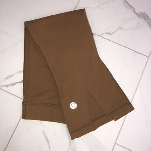 brown / tan lululemon crop leggings high waisted